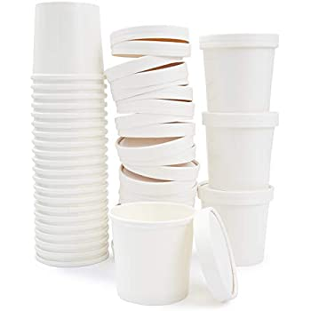 Juvale Kraft Paper Food Containers with Lids (50 Count) White, 12 Ounces