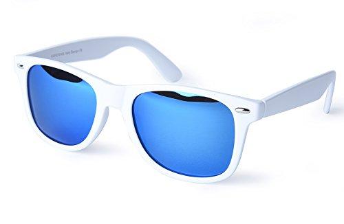 corciova Reflective Revo Large Horn Rimmed Style Uv400 Wayfarer Sunglasses Matte White Frame Blue Mirror Lens