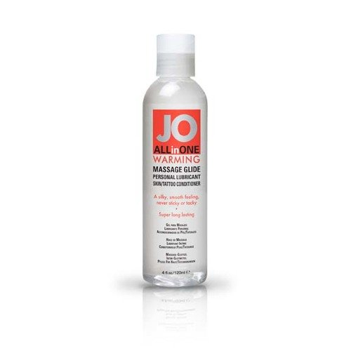System Jo All in One WARMING Massage Oil Personal Lubricant Glide Warming : Size 4 Fl Oz / 120 Ml. (Pack of 2)