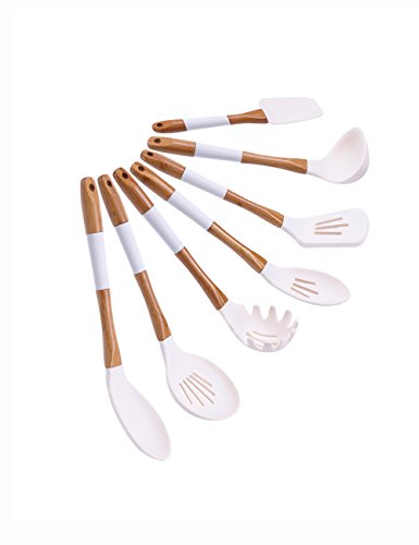 Server Portion Solid (horoya Ivory White Silicone Cooking Utensils set 7-piece Silicone Kitchen Utensils set with Natural Bamboo Handle for Nonstick Cookware Heat-Resistant Cooking Tools Set BPA-Free)