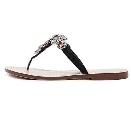 Voberry Sandalen, Womens Summer Flat glänzende Strass Kette Sandalen T-Strap Beach Slipper Schuhe Schwarz