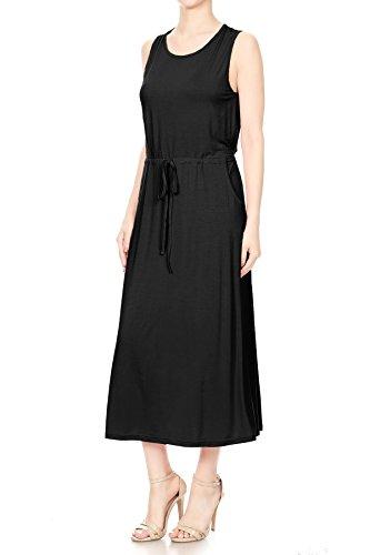 Top Tank Dress Pockets Anna Side Womens Knit Black Kaci Casual Sleeveless Maxi TqOxwZa