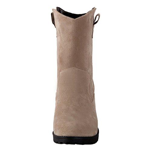ENMAYER Mujer Nubuck Cuero Ronda Toe Mediados de-becerro Plataforma Solid Chelsea Boots Caqui