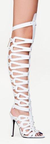 Breckelles Womens Diva-22 Gladiator Heels Sandaler Hvite