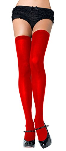 Opaque Nylon Thigh High Stockings (One Size, Red) (Red Opaque Thigh High Stockings)