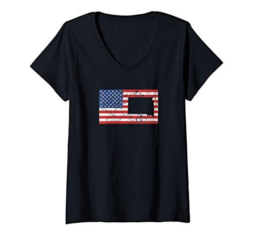 (Womens South Dakota Sioux Falls 4th of July Mens Womens  V-Neck T-Shirt )