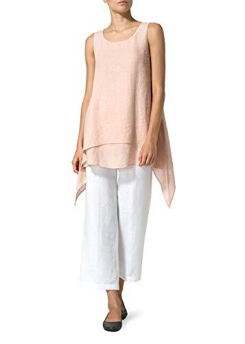 - Vivid Linen Sleeveless Layered Lightweight Top-M-Madeira Pink