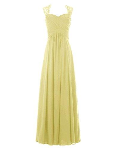 Chiffon Navy Yellow Spitzen Blue Lang Damen Brautjungferkleider Cap Fanciest Sleeve xIwp4nq