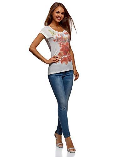 oodji T a Fiori Stampata Donna Bianco Ultra 1045p Shirt ArWzRAq