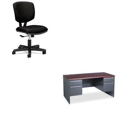 Hon Company Black Pedestal Desk - KITHON38155NSHON5701GA10T - Value Kit - The HON Company HON 38000 Series Double Pedestal Desk, Mahogany/Charcoal (HON38155NS) and The HON Company HON Volt Task Chair   Black Fabric, Black (HON5701GA10T)