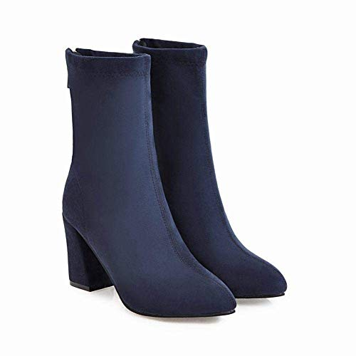 36 Alto Mujer Gran color Azul Invierno Cálidas Tamaño 43 Botas botas Para La Azul E Otoño Zhrui 43 Moda Tacón De 7wfZqZ