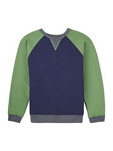 Fruit of the Loom Boys' Fleece Crewneck Sweatshirt, Ghost Navy/Gametime Green/Charcoal Heather, Medium