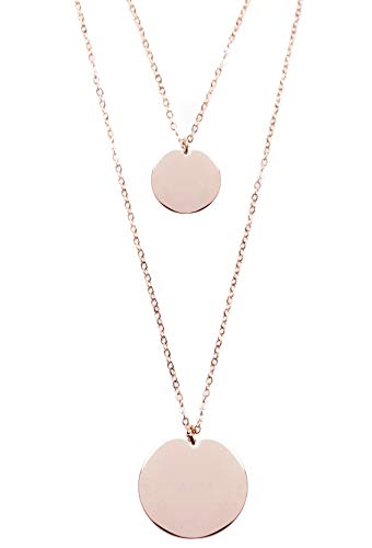 - Happiness Boutique Layered Necklace Circle Pendants Rose Gold | Double Row Necklace 2 Round Charms Minimalist Style Geometric Design
