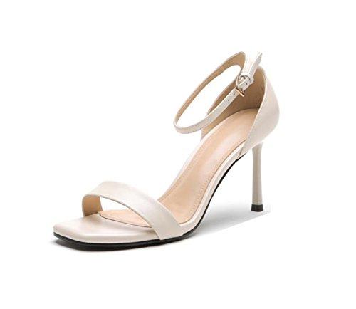 de Beige Casual Negro Verano Tacón de Zapatos Mujer Beige de PU Open Rojo Sandalias de Aguja Toe para Gladiador 0Uqz6xw