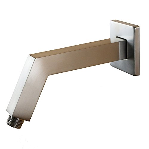 (Weirun Bathroom 1/2 inch NPT All Brass 6.8-Inch Square Shower Arm with Flange Wall Mount, Brushed Nickel)