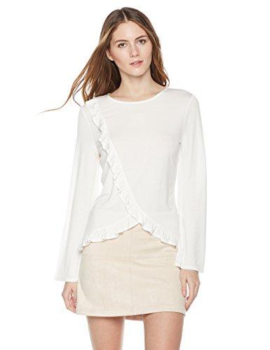 Ruffle Trim Jersey Top (Painted Heart Women's Long Sleeve Top with Asymmetric Ruffle Detail Medium Ivory)