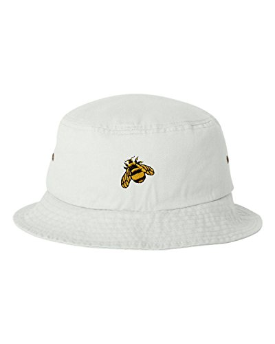 Bee Embroidered Bumble (Go All Out One Size White Adult Bumble Bee Embroidered Bucket Cap Dad Hat)