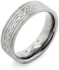 Silver Insanity 6mm Wide Mens and Womens Titanium Etched Celtic Knot Wedding Band Ring Sizes 6,7,8,9,10,11,12,13,14