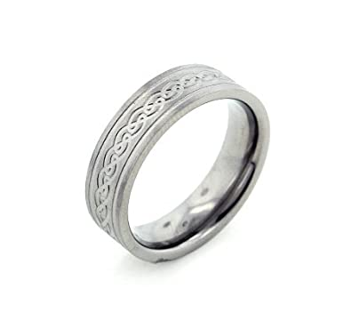 6mm wide mens and womens titanium etched celtic knot wedding band ring size 11sizes - Celtic Knot Wedding Rings