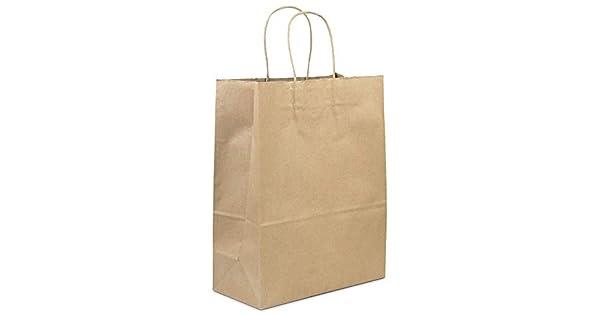Amazon.com: Bolsas de papel kraft resistente con asas, 13 x ...