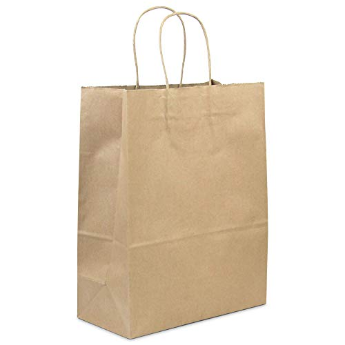 [50 Pack] Heavy Duty Kraft Paper Bags with Handles 13 x 10 x 5