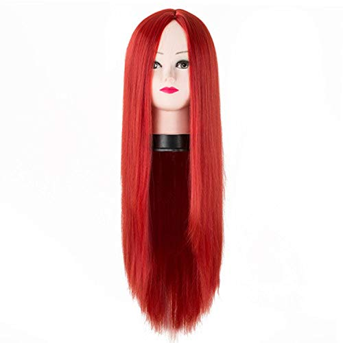 Black Wig Get-in Synthetic Heat Resistant Long Straight Middle Part Line Costume Cosplay Hair 26 Inches Salon Party Hairpieces,Red,26inches