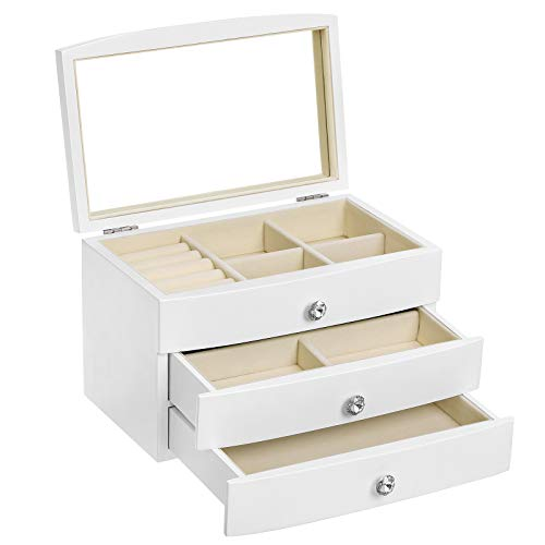 SONGMICS Jewelry Box, Wooden Jewelry Case, 3 Layer Organizer with Large Mirror, White UJOW03W (Pottery Box Barn Jewlery)