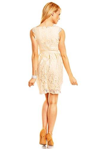c15d8e8c9bed ... Mayaadi Spitzenkleid Ballkleid Abendkleid Partykleid Festkleid  Cocktailkleid Blumenmuster HS-311 Creme T6nqr0