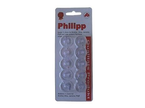 Philipp - Canillas para máquina de coser Brother (10 unidades, plástico, 11,