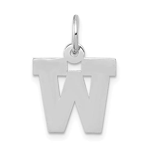 Jewelry Pendants & Charms Themed Charms 14k White Gold Small Block Initial W Charm ()