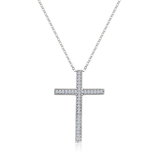 - Lesa Michele Cubic Zirconia Antique Style Cross Pendant Necklace with Milgrain Edge in Sterling Silver