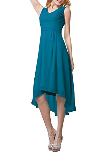 Hanxue sleeveless Double-V Party Dress Hi-lo Formal Bridesmaid Dresses Teal US14 (Blue Formal High Low Dress)