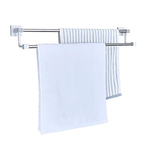 XPY-Towel rack Towel bar, Towel Rack, Punch-Free, Bathroom, Stainless Steel, Suction Cup, Wall Hanging, 63cm Double Pole ()
