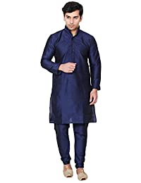 Maple Clothing Men's Embroidered Kurta Pajama Silk Indian Party Wear Dress
