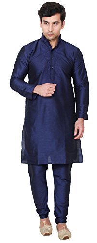 Maple Clothing Embroidered Silk Mens Kurta Pyjama Indian Clothing (Blue, XL)