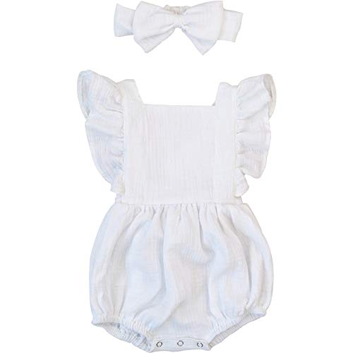 Luckikikids Baby Romper Girl Organic Cotton 0-3 6 9 Months Baby Girl Boutique Clothing Double Gauze Puff Sleeve Infant Bubble Outfit (White, - Bubble Infant