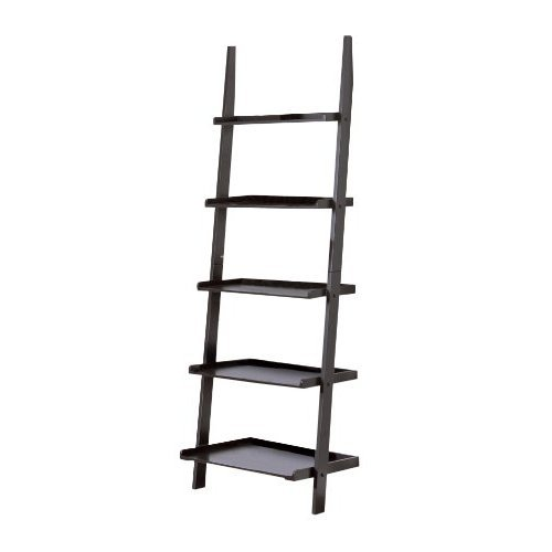 3 X Contemporary Black Finish 5-Tier Ladder Book Shelf
