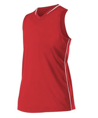 Alleson Athletic Girl's Racerback Fastpitch Jersey Small Scarlet/White ()