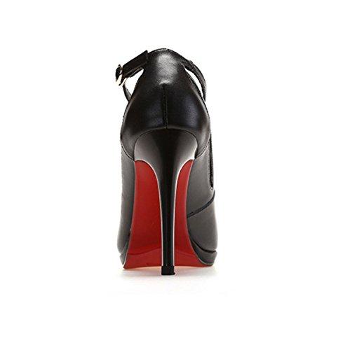 Alto Europeo Black Calzado Hackle Ultra Tacón De DKFJKI Europa Plataforma Tacón Apuntadas Cuero Bajo Sandalias Hollow Mujer Impermeable Zapatos qS7wwXU