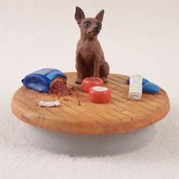 Red Miniature Pinscher Candle Topper Tiny One ''A Day at Home'' by Conversation Concepts