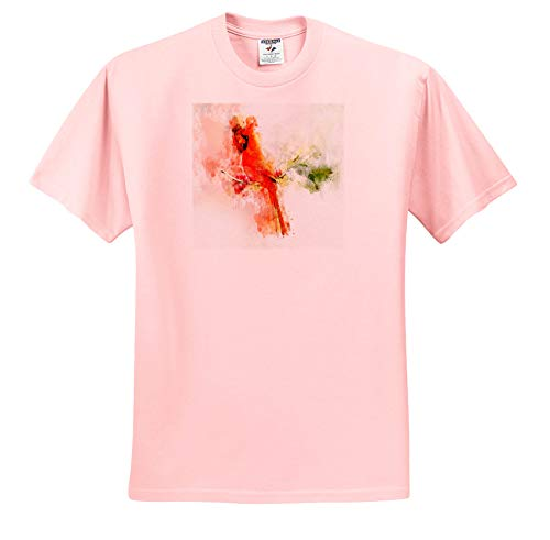 - Lens Art by Florene - Watercolor Art - Image of Red Cardinal Bird in Watercolor - T-Shirts - Toddler Light-Pink-T-Shirt (4T) (ts_304515_49)