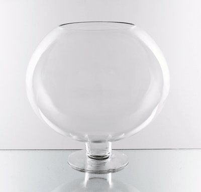 WGV Clear Brandy Wine Shaped Bubble Bowl Glass Vase on Stand, Large