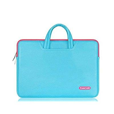 ProtoCASE - 13.3-Inch Laptop and Tablet Bag Computer Carrying Case Cover Sleeve with Side Pockets for MacBook Pro, Air, Ultrabook, iPad Pro Sleeve (PU Leather Blue)