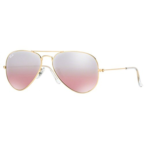 Ray-Ban RB3025 Aviator Sunglasses, Gold/Pink Mirror Gradient, 62 mm