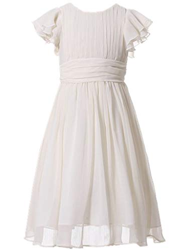 (Happy Rose Flower Girl's Dress Prom Party Dresses Bridesmaid Dress Ivory Cream 6 )
