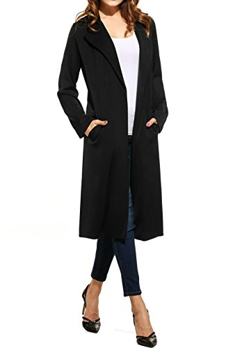 Long Black Trench Coat - 7