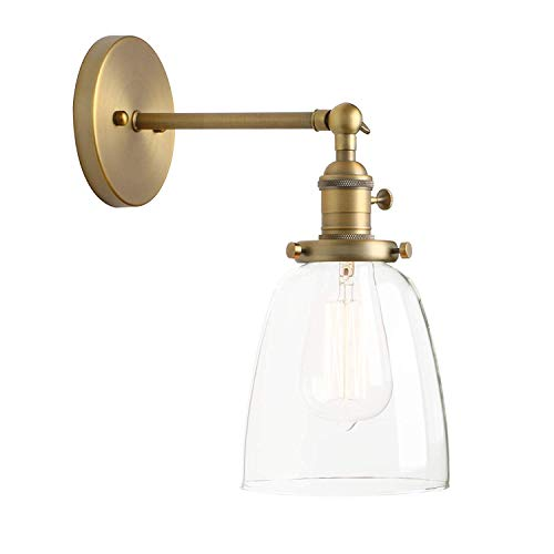 - SUN HUIJIE Industrial Vintage Single Sconce with Oval Cone Clear Glass Shade 1-Light Wall Sconce Wall Lamp