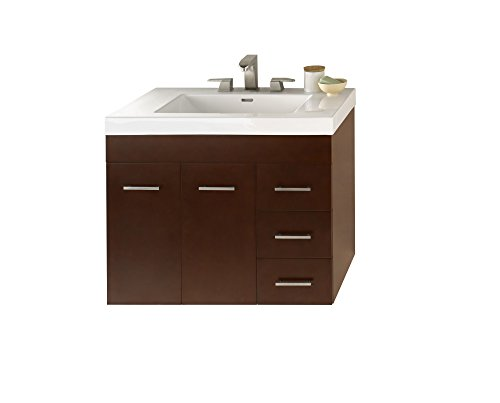 RONBOW Bella 33 inch Bathroom Vanity Set in Dark Cherry, Single Bathroom Vanity with Wall Cabinet and Drawer, White Evin Bathroom Sink Top with 8 inch Widespread Faucet Hole 011231-L-H01_Kit_2 (Beveled Mirror Sliding Closet Door)