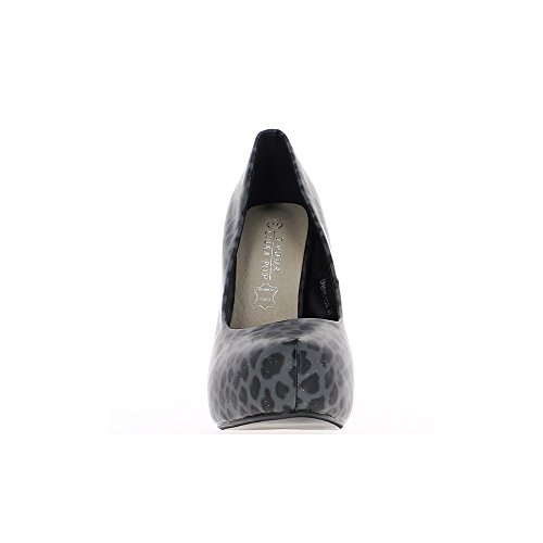 Escarpins femme noirs gris à talon aiguille de 12,5cm et plateforme bi colores