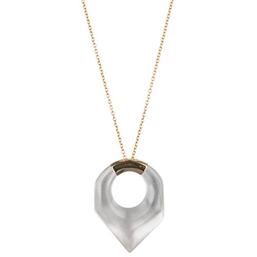 - Alexis Bittar Faceted Pentagon Clear Pendant Necklace, 16